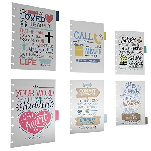 Discagenda 6 Section Dividers Plastic Durable with Bible Verses for Faith Journal for Planner Personal Organizer (A5 / Junior Size (5.8x8.3in), Discbound)
