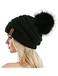 Women Knit Slouchy Beanie Chunky Baggy Hat with Faux Fur...