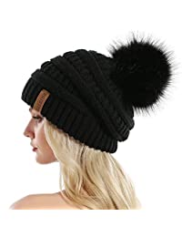 Queenfur Knit Slouchy Beanie for Women Thick Baggy Hat Faux Fur Pompom Winter Hat