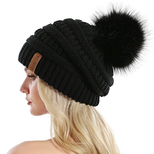 Black Winter Ski - QUEENFUR Women Knit Slouchy Beanie Chunky Baggy Hat with Faux Fur Pompom Winter Soft Warm Ski Cap