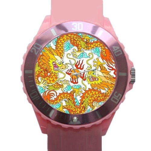 China dragón impresión de alta calidad de plástico cuarzo reloj de pulsera de la mujer: Amazon.es: Relojes