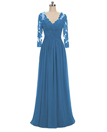 e802f8fc97 QiJunGe Women s V Neck Long Sleeves Evening Dress Formal Mother Prom Gowns  Blue ...