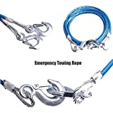 Logotto 4M Long || Super Strong Emergency Heavy Duty || Car Tow Cable || 3 Ton Towing Cable || with Dual Forged Hooks || B-01