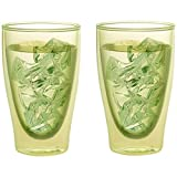 Levivo Set 2002000159 Double Walled Thermo Glass, Set of 2 Glasses 400 ml Glass Long Book Sommerdrinks Each Green, 22.5 x 15.5 x 10.5 cm 2 Units