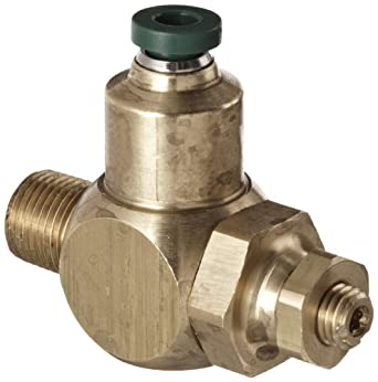 """Parker 032511215 3251 Series Brass Right Angle Flow Control Valve with Prestolok Fitting, 1/8"""" NPT Male x 5/32"""" NPT Female, 125 psi"""