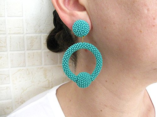 Turquoise Hoop Earrings, Beaded Turquoise Hoop, Hoop Turquoise Earrings On Studs/Clips
