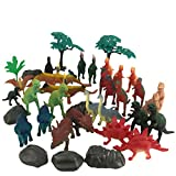 (US) Boley 40 pc Big Bucket of Dinosaurs - Tub of educational dinosaur toy playset with T-rex, Velociraptor and more! - small bucket allows for quick cleanup of your child's pretend play toys!
