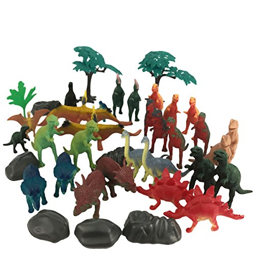 Boley 40 pc Big Bucket of Dinosaurs - Tub of educational dinosaur toy playset with T-rex, Velociraptor and more! - small bucket allows for quick cleanup of your child's pretend play toys!