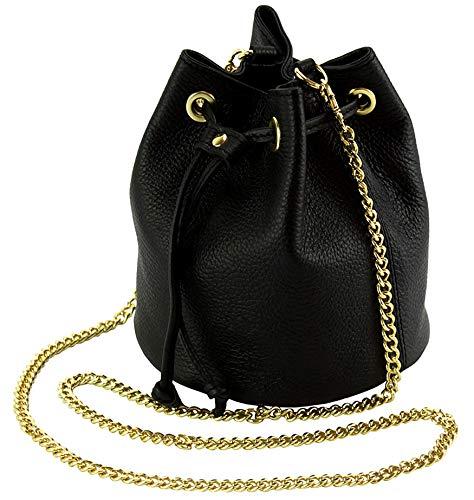 JAENIS NICHOLE Drawstring Bucket Crossbody Bag Purse and Handbag for Women w/Chain Strap Genuine Italian Leather - Ilaria (Chain Leather Bag Black Link Shoulder)
