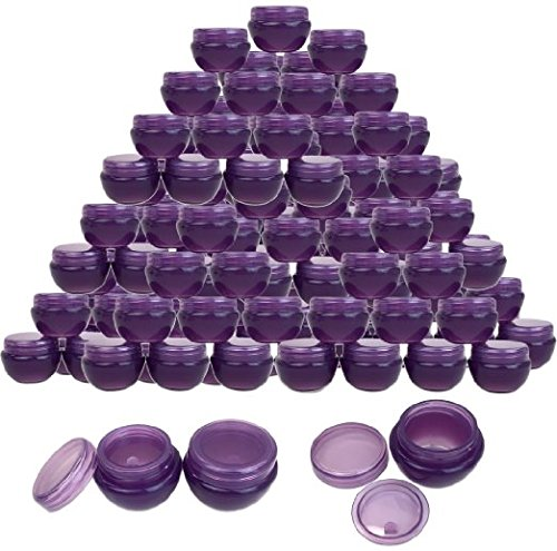 Beauticom 10G/10ML (72 Pieces, Dark Purple) Frosted Container Jars with Inner Liner for Scrubs, Oils, Salves, Creams, Lotions, Makeup Cosmetics, Nail Accessories, Beauty Aids - BPA (Lightweight Lip Gloss)