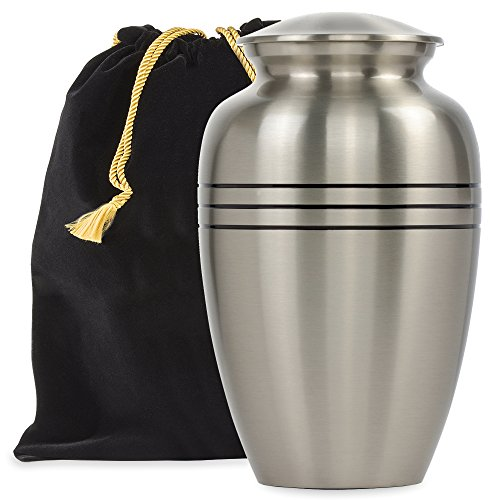 Grace and Mercy Pewter Large Urn For Human Ashes - A Beautiful and Humble Urn For Your Loved Ones Remains. This Lovely Simple Urn Will Bring You Comfort Each Time (Pewter Urn)