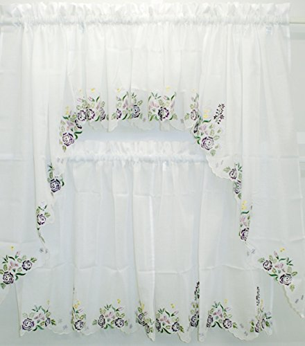 Isabella Embroidered Semi-Sheer 60Wx14L Insert Valance- White/Lilac