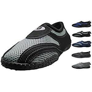Men's Water Shoes Aqua Slippers Yoga Exercise Socks With Drawstring Closure (9, Black / Gray)