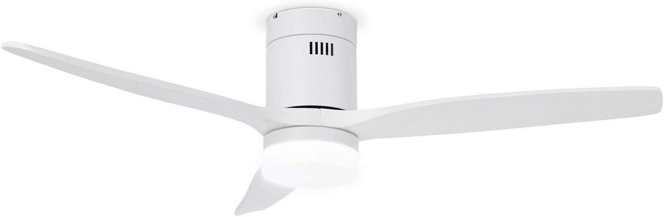 IKOHS LIGHTCALM White - Ventilador de Techo con Luz, Silencioso, 3 Aspas, Mando a Distancia, 132 cm de Diámetro, 6 Velocidades,Temporizador, Aspas de Madera, Motor DC, 40W (Blanco)