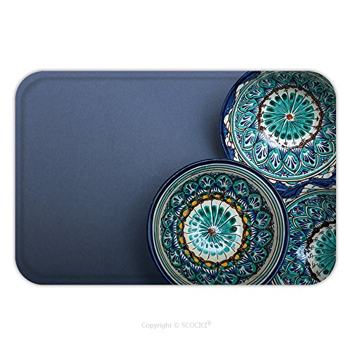 Flannel Microfiber Non-slip Rubber Backing Soft Absorbent Doormat Mat Rug Carpet Ethnic Uzbek Ceramic Tableware On The Gray Background Decorative Ceramic Cups With Traditional 606423434 for Indoor/Out (Foley Ceramic)