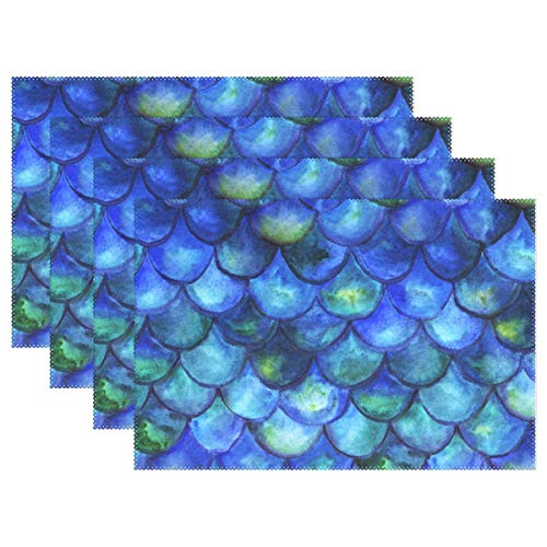 YATELI Placemats Abstract Mermaid Fish Scales Sea Ocean 12x18 inch Heat Resistant Set of 4 Non Slip for Dinning Kitchen