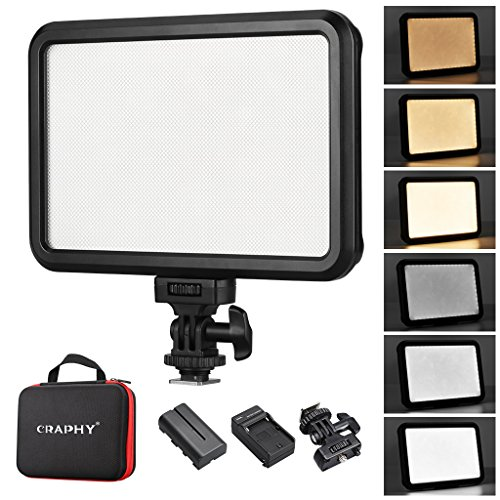 CRAPHY C-12B 1.2CM Ultra-thin Portable LED On Camera Video Light Lamp 3200k 5600k Dimmable Panel with BATTEYR ADAPTER White Orange Filter 1/4 Screw for Canon Nikon Pentax JVC DSLR DV Camcorder by CRAPHY