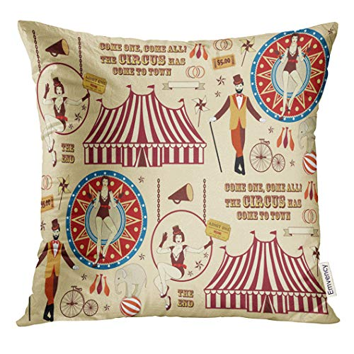 Golee Throw Pillow Cover Vintage Pattern of The Circus Ticket Trapeze Decorative Pillow Case Home Decor Square 16x16 Inches Pillowcase
