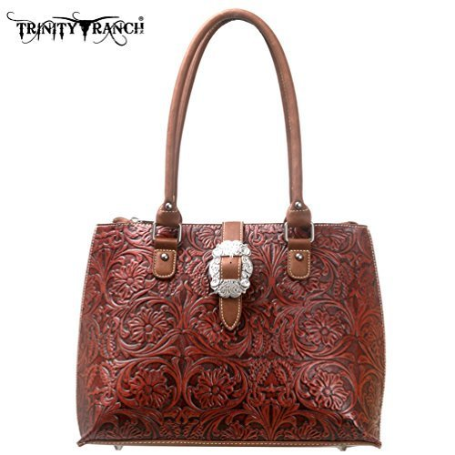Montana West Trinity Ranch Western Purse Handbag Leather - Get Your Western ON! TR11-L8564rwbrn by Trinity Ranch