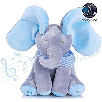 Aminiture Peek A Boo Soft Stuffed Animal Plush Toys for Baby Kids Xmas Gifts&Christmas Elephant Animated Talking and Singing Elephant Plush Toy 12'' (Blue&Grey)