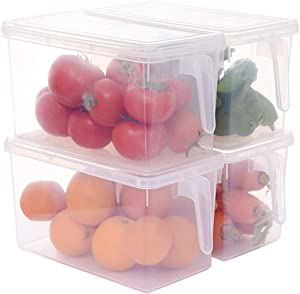 Sooyee Fridge Storage Containers Produce Saver, 4 Pack x 4L Stackable Refrigerator Organizer Keeper with Handle To Keep Fresh for Produce, Food,Fruits, Vegetables, Meat and Fish,Clear