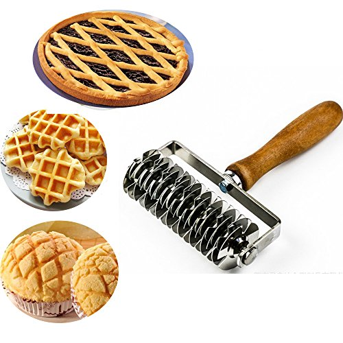 - Kitchen Baking Dough Cookie Pie Pizza Pastry Lattice Roller Cutter Baking Tool - Stainless Steel - Wood handle