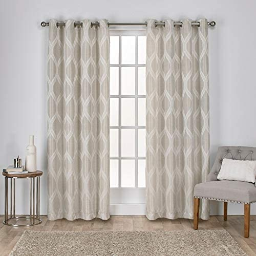Exclusive Home Curtains Montrose Ogee Geometric Textured Linen Window Curtain Panel Pair
