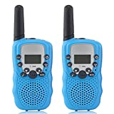 Kids Walkie Talkies Long Range Two Way Radio 3KM 22 Channels Battery Operated Handset with Indicator and Belt Clip for Children Outdoor Camping Hiking 2 PCS (Blue)