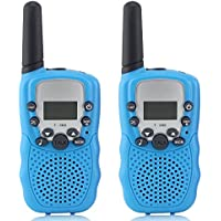 Kids Walkie Talkies, Waltsom 2 Pack Portable T388 3KM Long Rang UHF Radio 22 FRS and GMRS Walky Talky for Camping/ Summer Camp/ Spring Outing Indoor Outdoor Activities, Best Gift for Kids Child