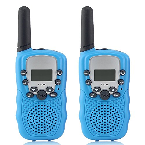 Kids Walkie Talkies, WALTSOM 2 Pack Portable T388 3KM Long Rang UHF Radio 22 FRS and GMRS Walky Talky for Camping/ Summer Camp/ Spring Outing Indoor Outdoor Activities, Best Gift for Child (Blue)