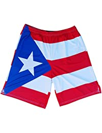 Puerto Rico Flag Sublimated Lacrosse Shorts, Red, Youth X Large