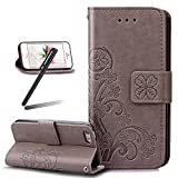 iPhone 7 Wallet Case,iPhone 7 Kickstand Case,SKYMARS Clover Embossed PU Leather Flip Kickstand Cards Slot Wallet Magnet Stand Cover Case for iPhone 7 4.7 inch Clover Grey