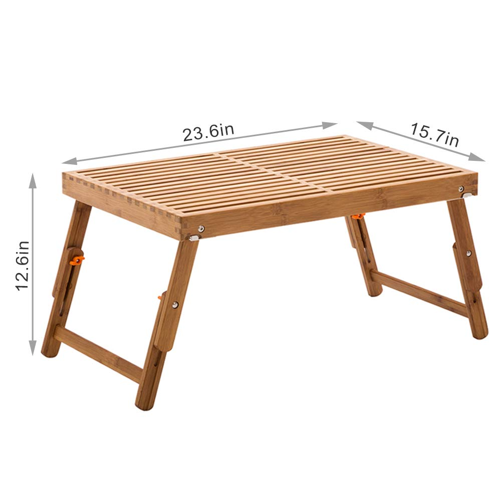 Bamboo Bed Tray Table, NNEWVANTE Folding Coffee Tea Table with Foldable Legs Laptop Desk with 2 Leg Locks Adjustable Breakfast Serving Tray End Table for Bed Reading Watching TV Outdoor Camping