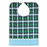 Tinksky Adult Mealtime Protector Waterproof Pocket Bib Disability Aid Apron Washable with Crumb Catcher (Green Grid)