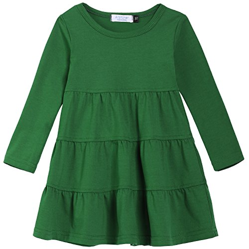 Arshiner Girls' Super Soft Cotton Long Sleeve Tiered Dress, Green, 120(Age for 5-6Y) -