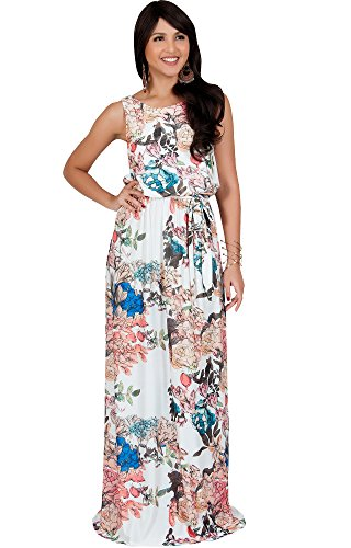 Silk Dress Maxi Floral (KOH KOH Women Long Sleeveless Summer Floral Print Casual Cute Boho Bohemian Maternity Flowy Sundress Sundresses Gown Gowns Maxi Dress Dresses, Ivory White 3X 22-24)