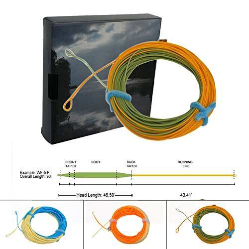 (Aventik Fly Fishing Line Weight Forward Floating Fly Line Freshwater Line with 2 Welded Loops with Line ID 90FT WF3/4/5/6/7/8F (Sky Blue+Milk, DWF6F))