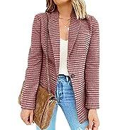 BLENCOT Casual Blazers Long Sleeve Open Front Work Jackets Blazer Summer Office Blazers