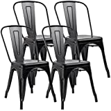 JUMMICO Metal Dining Chair Stackable Indoor Outdoor Chairs Chic Bistro Cafe  Side Chairs For Kitchen