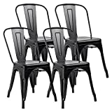 JUMMICO Metal Dining Chair Stackable Indoor-Outdoor Chairs Chic Bistro Cafe Side Chairs for Kitchen Use Set of 4 (Black) For Sale