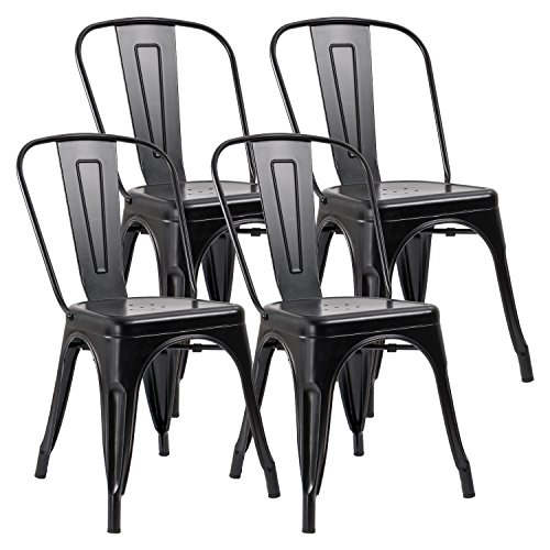 JUMMICO Metal Dining Chair Stackable Indoor-Outdoor Industrial Vintage Chairs Bistro Kitchen Cafe Side Chairs with Back Set of 4 (Black) ()