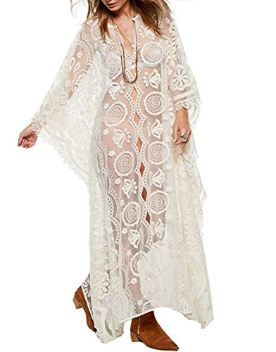 Santwo Fashion Sexy Swimsuit Cover Up Floral Lace Long Beach Dress Beachwear (White(style A))