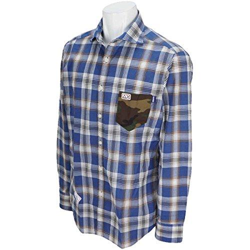サンシックスティエイト SUN68 長袖シャツ?ポロシャツ 衿裏 ポケットカモフラージュチェック長袖シャツ