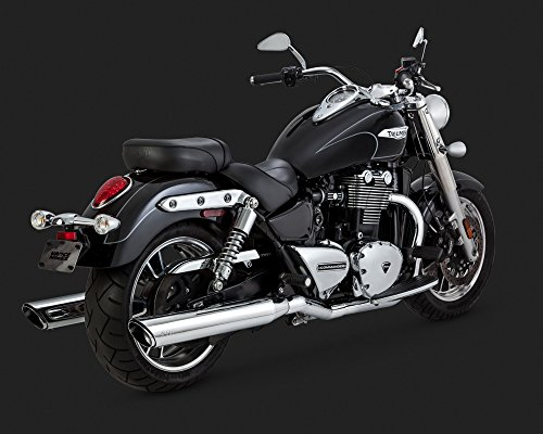 15-16 TRIUMPH TBIRDLTABS: Vance & Hines Twin Slash Rounds Slip-On Exhaust (Chrome / 4