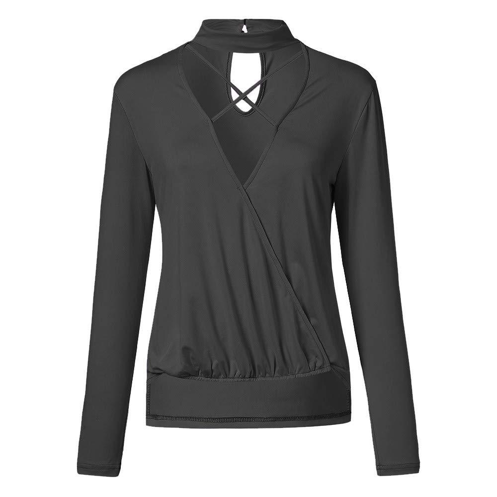 AOJIAN Blouse Women Long Sleeve T Shirt Crisscross Wrap Front Irregular Hem Solid Tops
