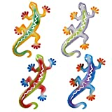 Gift Boutique Salamander Metal Art Sculpture Gecko Garden Wall Decor Set of 4 Decorative Outdoor Backyard Porch Home Patio Lawn Fence Decorations Purple Blue Yellow Green Red Hanging Lizard Statue
