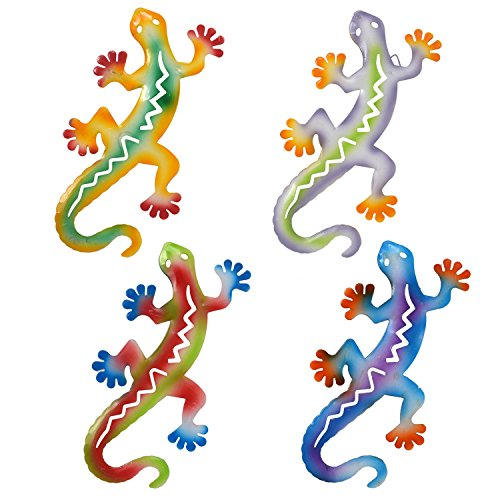 Cheap  Gift Boutique Salamander Metal Art Sculpture Gecko Garden Wall Decor Set of..