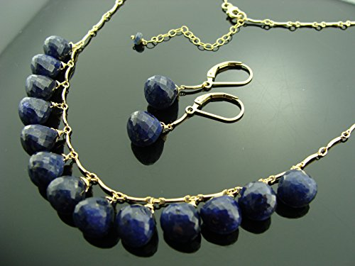 Genuine Sapphire 14K Gold Filled Gemstone Necklace and Earrings Set by Vesta Jewelry
