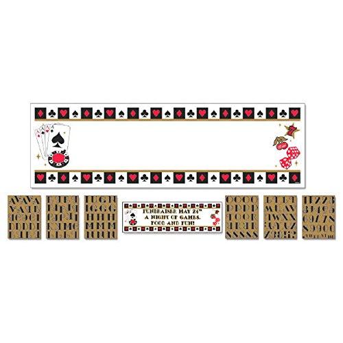 Amscan Fun Casino Personalize It Giant Party Sign Banner Decoration, 65'' x 20'', Pack of 121. Supplies (1452 Piece) by Amscan
