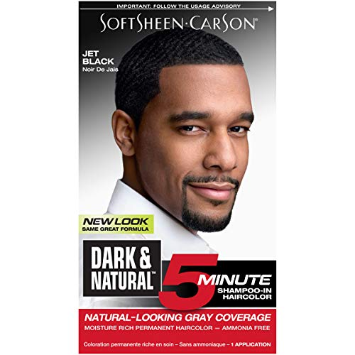 Hair Color for Men by SoftSheen Carson Dark and Natural, 5 Minutes, Natural Looking Gray Coverage for up to 6 weeks, Shampoo-in Permanent Hair Dye, Jet Black, Ammonia Free, 1 Count